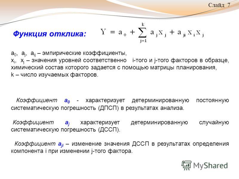 Слайд 7 Функция отклика: а 0, a j, а ij – эмпирические коэффициенты, х i, х j – значения уровней соответственно i-того и j-того факторов в образце, химический состав которого задается с помощью матрицы планирования, k – число изучаемых факторов. Коэф