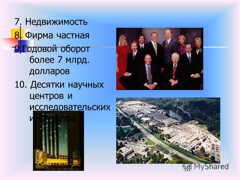 7. Недвижимость 8. Фирма частная 9.Годовой оборот более 7 млрд. долларов 10. Десятки научных центров и исследовательских институтов
