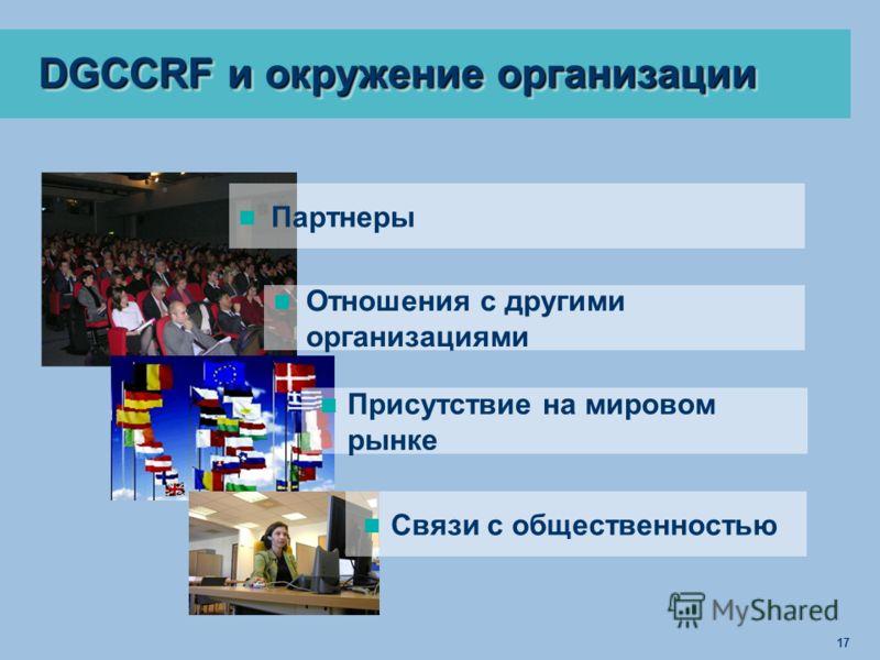 17 DGCCRF и окружение организации Партнеры Отношения с другими организациями Присутствие на мировом рынке Связи с общественностью