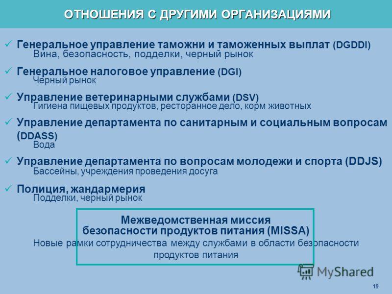 19 Генеральное управление таможни и таможенных выплат (DGDDI) Вина, безопасность, подделки, черный рынок Генеральное налоговое управление (DGI) Черный рынок Управление ветеринарными службами (DSV) Гигиена пищевых продуктов, ресторанное дело, корм жив