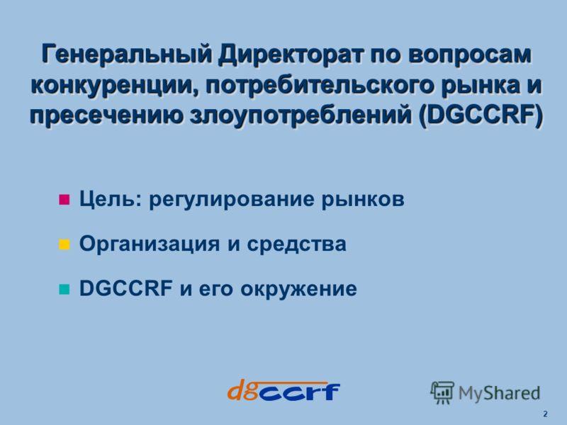 2 Цель: регулирование рынков Организация и средства DGCCRF и его окружение