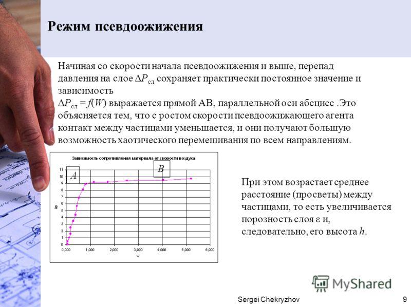 Sergei Chekryzhov9 Режим псевдоожижения Начиная со скорости начала псевдоожижения и выше, перепад давления на слое ΔР сл сохраняет практически постоянное значение и зависимость ΔР сл = f(W) выражается прямой АВ, параллельной оси абсцисс.Это объясняет