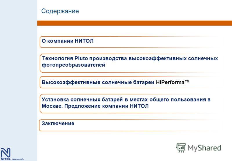 Содержание О компании НИТОЛ Технология Pluto производства высокоэффективных солнечных фотопреобразователей Высокоэффективные солнечные батареи HiPerforma Установка солнечных батарей в местах общего пользования в Москве. Предложение компании НИТОЛ Зак