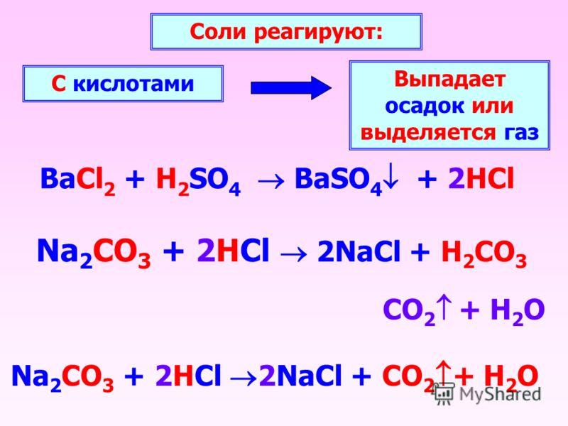 BaCl 2 + H 2 SO 4 BaSO 4 + 2HCl Соли реагируют: С кислотами Выпадает осадок или выделяется газ Na 2 CO 3 + 2HCl 2NaCl + H 2 CO 3 CO 2 + H 2 O Na 2 CO 3 + 2HCl 2NaCl + CO 2 + H2OH2O