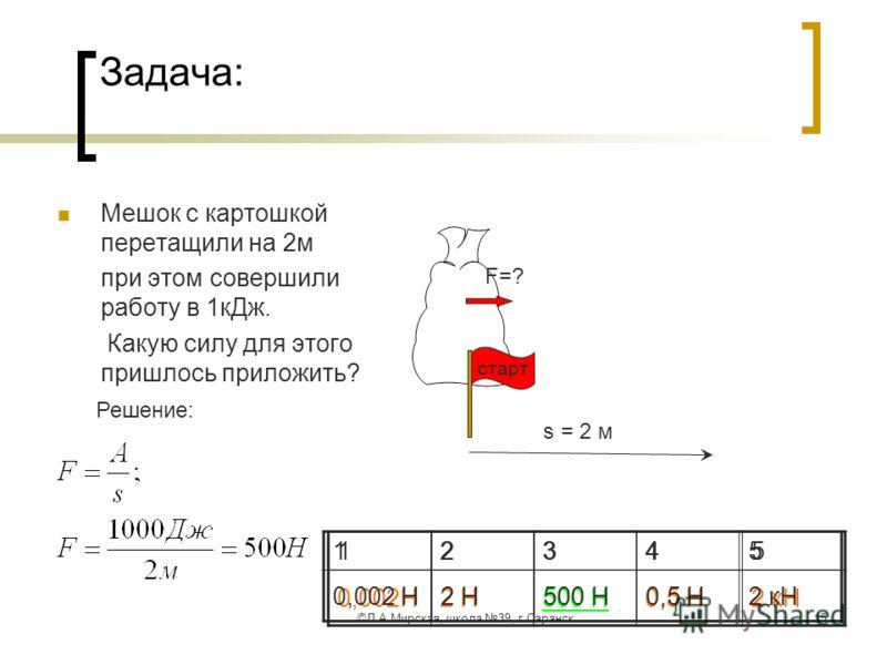 ©Л.А.Мирская, школа 39, г.Саранск15 Задача: Мешок с картошкой перетащили на 2м при этом совершили работу в 1кДж. Какую силу для этого пришлось приложить? s = 2 м F=? Решение: старт 12345 0,002Н2 Н500 Н0,5 Н2 кН 12345 0,002 Н2 Н500 Н0,5 Н2 кН