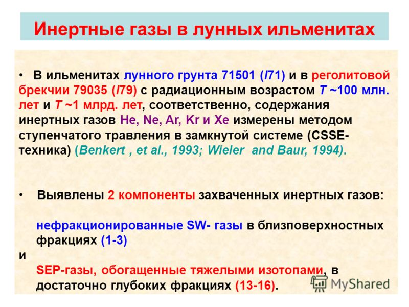 В ильменитах лунного грунта 71501 (I71) и в реголитовой брекчии 79035 (I79) с радиационным возрастом T ~100 млн. лет и T ~1 млрд. лет, соответственно, содержания инертных газов He, Ne, Ar, Kr и Xe измерены методом ступенчатого травления в замкнутой с