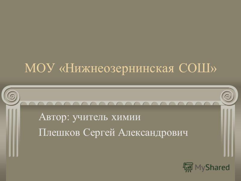 МОУ «Нижнеозернинская СОШ» Автор: учитель химии Плешков Сергей Александрович