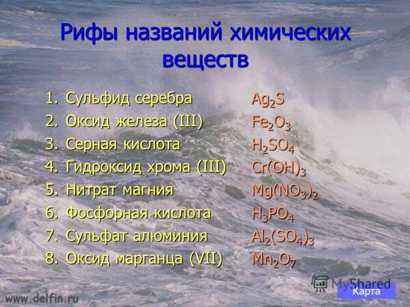 Рифы названий химических веществ 1.Сульфид серебра 2.Оксид железа (III) 3.Серная кислота 4.Гидроксид хрома (III) 5.Нитрат магния 6.Фосфорная кислота 7.Сульфат алюминия 8.Оксид марганца (VII) Ag 2 S Fe 2 O 3 H 2 SO 4 Cr(OH) 3 Mg(NO 3 ) 2 H 3 PO 4 Al 2