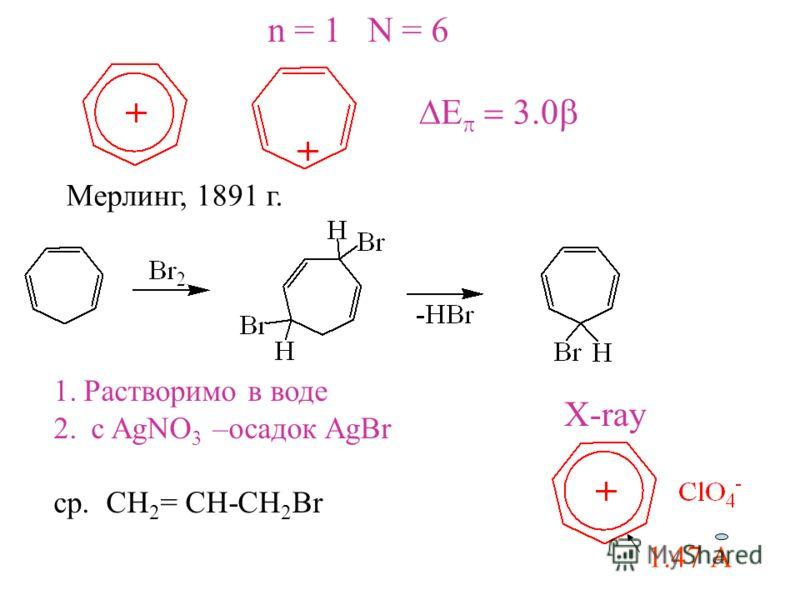 Мерлинг, 1891 г. 1.Растворимо в воде 2. с AgNO 3 –осадок AgBr ср. CH 2 = CH-CH 2 Br 1.47 А X-ray n = 1 N = 6