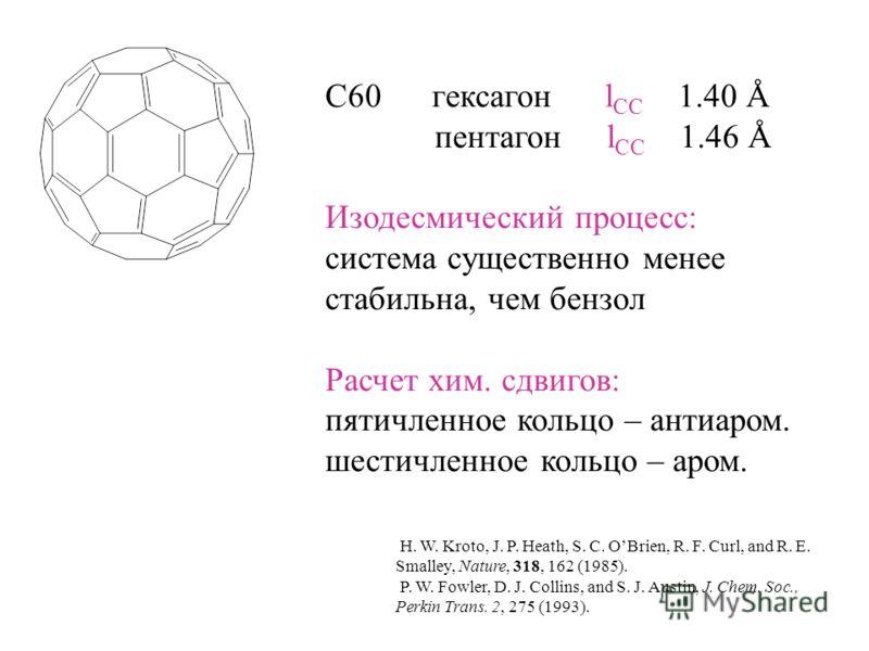 C60 гексагон l CC 1.40 Å пентагон l CC 1.46 Å Изодесмический процесс: система существенно менее cтабильна, чем бензол Расчет хим. сдвигов: пятичленное кольцо – антиаром. шестичленное кольцо – аром. H. W. Kroto, J. P. Heath, S. C. OBrien, R. F. Curl,