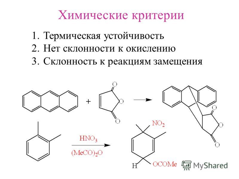 Химические критерии 1. Термическая устойчивость 2. Нет склонности к окислению 3. Склонность к реакциям замещения