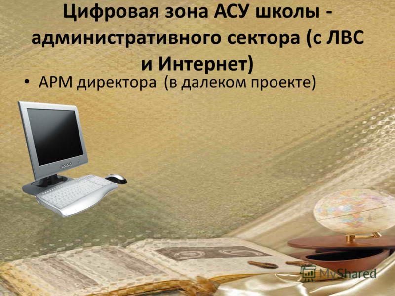 Цифровая зона АСУ школы - административного сектора (с ЛВС и Интернет) АРМ директора (в далеком проекте)