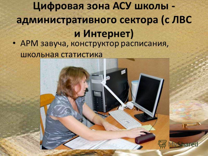 Цифровая зона АСУ школы - административного сектора (с ЛВС и Интернет) АРМ завуча, конструктор расписания, школьная статистика