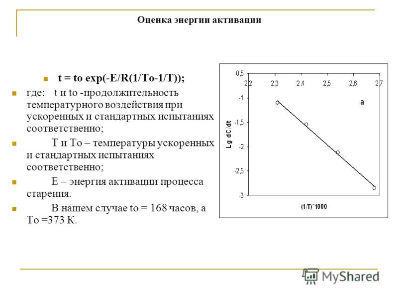 Оценка энергии активации t = tо еxp(-E/R(1/To-1/T)); где: t и tо -продолжительность температурного воздействия при ускоренных и стандартных испытаниях соответственно; T и To – температуры ускоренных и стандартных испытаниях соответственно; Е – энерги