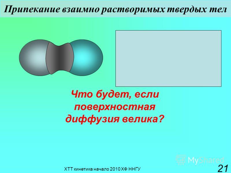 ХТТ кинетика начало 2010 ХФ ННГУ 21 Припекание взаимно растворимых твердых тел Что будет, если поверхностная диффузия велика?