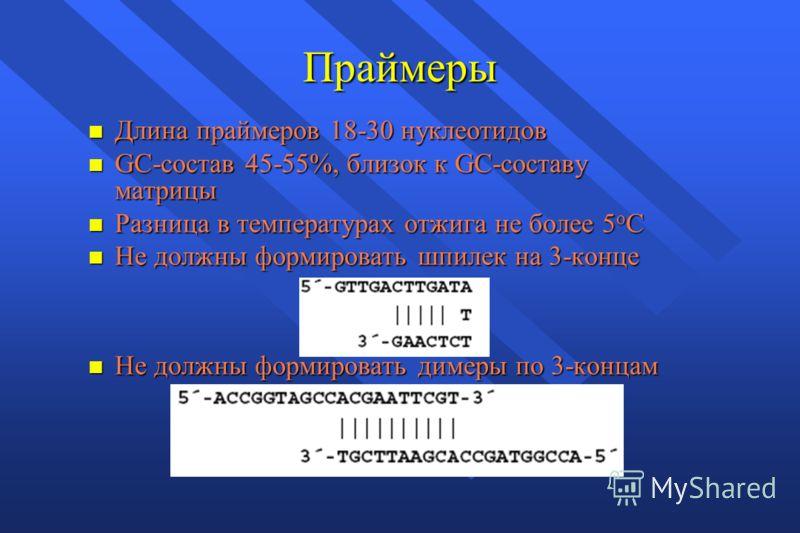 Праймеры n Длина праймеров 18-30 нуклеотидов n GC-состав 45-55%, близок к GC-составу матрицы n Разница в температурах отжига не более 5 о С n Не должны формировать шпилек на 3-конце n Не должны формировать димеры по 3-концам