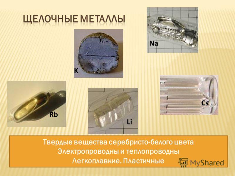 Твердые вещества серебристо-белого цвета Электропроводны и теплопроводны Легкоплавкие. Пластичные Li Na K Rb Cs