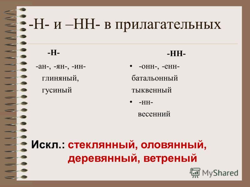 -Н- и –НН- в прилагательных -Н- -ан-, -ян-, -ин- глиняный, гусиный -НН- -онн-, -енн- батальонный тыквенный -нн- весенний Искл.: стеклянный, оловянный, деревянный, ветреный
