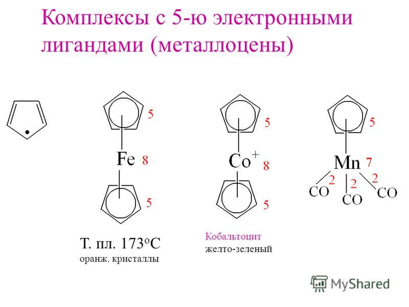 Комплексы с 5-ю электронными лигандами (металлоцены) Т. пл. 173 о С оранж. кристаллы Кобальтоцит желто-зеленый
