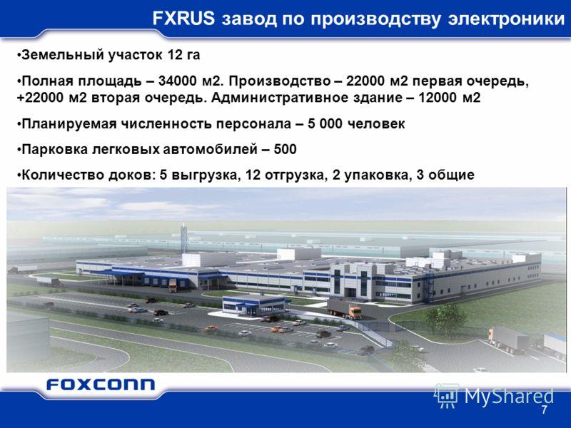 7 FXRUS завод по производству электроники Земельный участок 12 га Полная площадь – 34000 м2. Производство – 22000 м2 первая очередь, +22000 м2 вторая очередь. Административное здание – 12000 м2 Планируемая численность персонала – 5 000 человек Парков