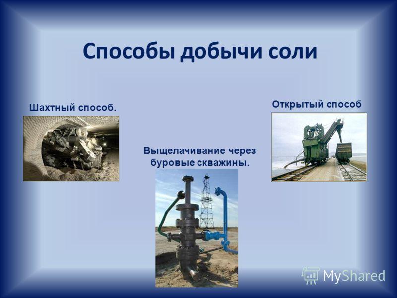 Способы добычи соли Шахтный способ. Выщелачивание через буровые скважины. Открытый способ