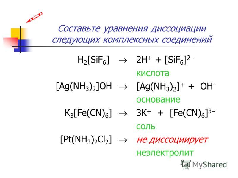 Составьте уравнения диссоциации следующих комплексных соединений H 2 [SiF 6 ] [Ag(NH 3 ) 2 ]OH К 3 [Fe(CN) 6 ] [Pt(NH 3 ) 2 Cl 2 ] 2H + + [SiF 6 ] 2– кислота [Ag(NH 3 ) 2 ] + + OH – основание 3К + + [Fe(CN) 6 ] 3– соль не диссоциирует неэлектролит