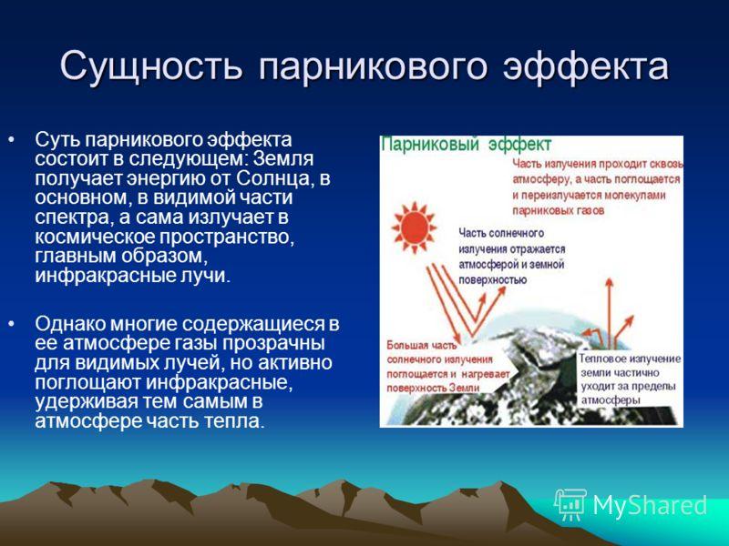 Сущность парникового эффекта Суть парникового эффекта состоит в следующем: Земля получает энергию от Солнца, в основном, в видимой части спектра, а сама излучает в космическое пространство, главным образом, инфракрасные лучи. Однако многие содержащие