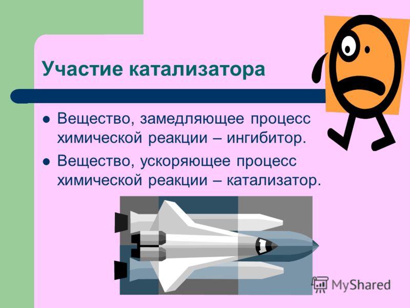 Участие катализатора Вещество, замедляющее процесс химической реакции – ингибитор. Вещество, ускоряющее процесс химической реакции – катализатор.