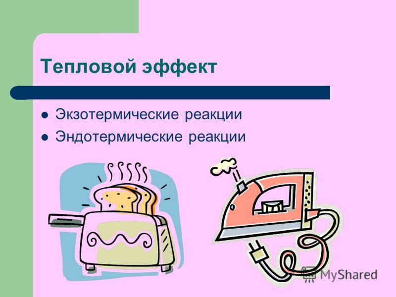 Тепловой эффект Экзотермические реакции Эндотермические реакции