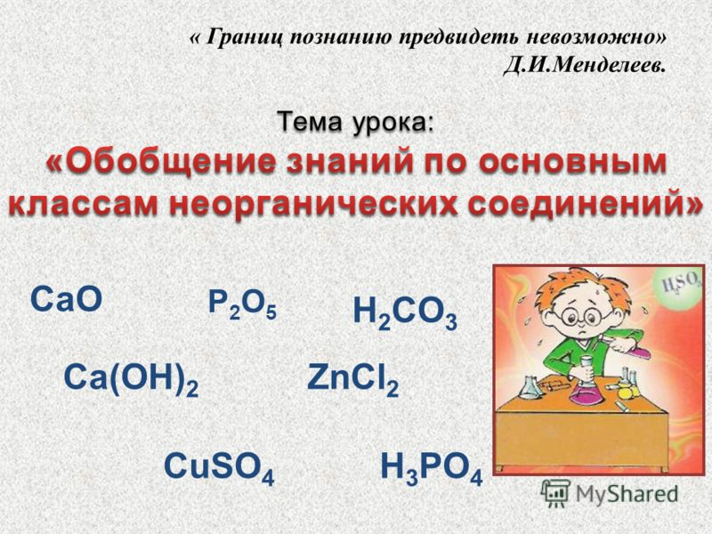 « Границ познанию предвидеть невозможно» Д.И.Менделеев. P2O5P2O5 Ca(OH) 2 CuSO 4 H 3 PO 4 ZnCl 2 CaO H 2 CO 3