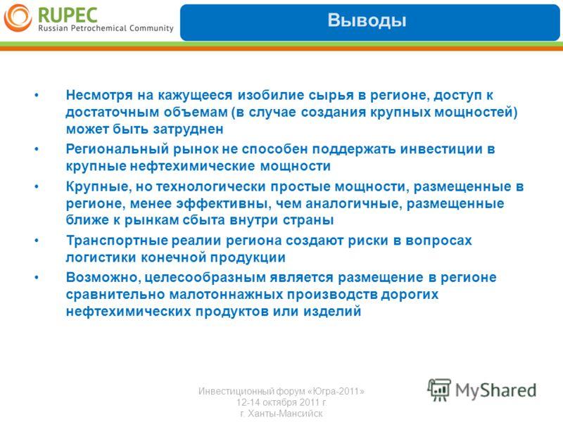 Выводы Инвестиционный форум «Югра-2011» 12-14 октября 2011 г. г. Ханты-Мансийск Несмотря на кажущееся изобилие сырья в регионе, доступ к достаточным объемам (в случае создания крупных мощностей) может быть затруднен Региональный рынок не способен под