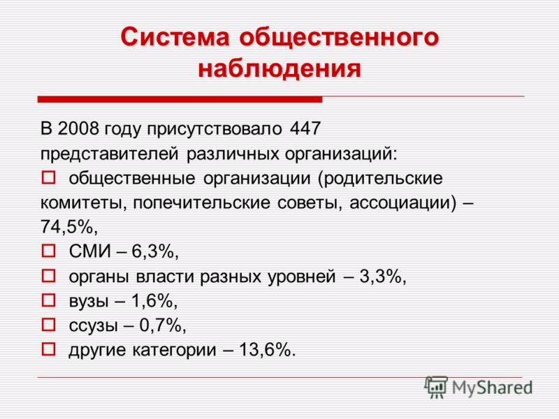 Система общественного наблюдения В 2008 году присутствовало 447 представителей различных организаций: общественные организации (родительские комитеты, попечительские советы, ассоциации) – 74,5%, СМИ – 6,3%, органы власти разных уровней – 3,3%, вузы –