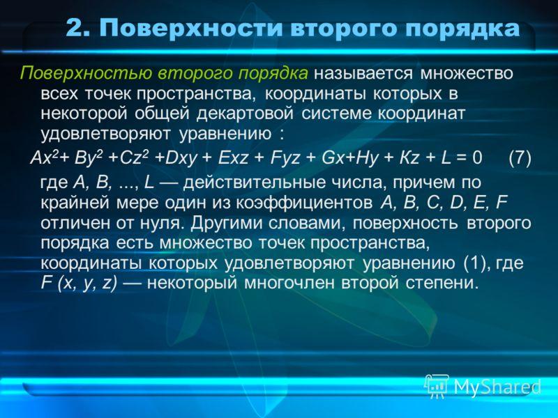 2. Поверхности второго порядка Поверхностью второго порядка называется множество всех точек пространства, координаты которых в некоторой общей декартовой системе координат удовлетворяют уравнению : Ах 2 + By 2 +Cz 2 +Dxy + Ехz + Fуz + Gx+Hy + Кz + L