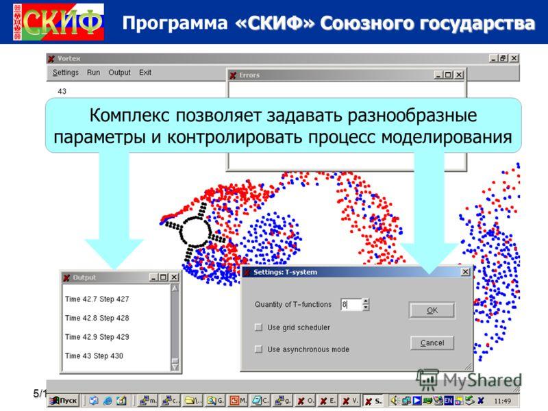 «СКИФ» Союзного государства Программа «СКИФ» Союзного государства 5/16/201358 Комплекс позволяет задавать разнообразные параметры и контролировать процесс моделирования