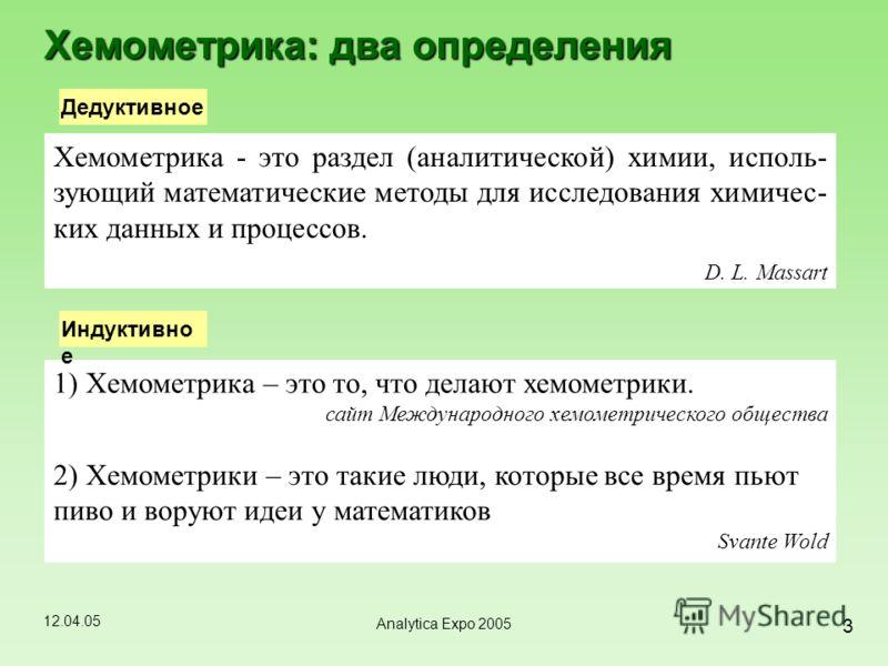 12.04.05 3 Analytica Expo 2005 Хемометрика - это раздел (аналитической) химии, исполь- зующий математические методы для исследования химичес- ких данных и процессов. D. L. Massart Хемометрика: два определения Дедуктивное 1) Хемометрика – это то, что
