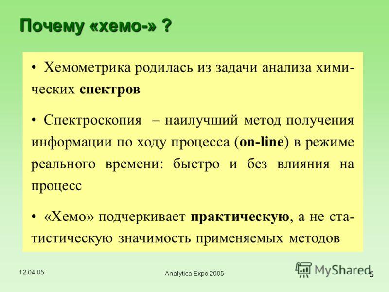 12.04.05 5 Analytica Expo 2005 Почему «хемо-» ? Хемометрика родилась из задачи анализа хими- ческих спектров Спектроскопия – наилучший метод получения информации по ходу процесса (on-line) в режиме реального времени: быстро и без влияния на процесс «