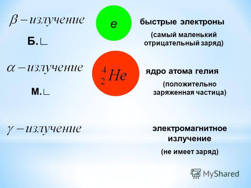 е быстрые электроны (самый маленький отрицательный заряд) ядро атома гелия (положительно заряженная частица) электромагнитное излучение (не имеет заряд) Б. М.