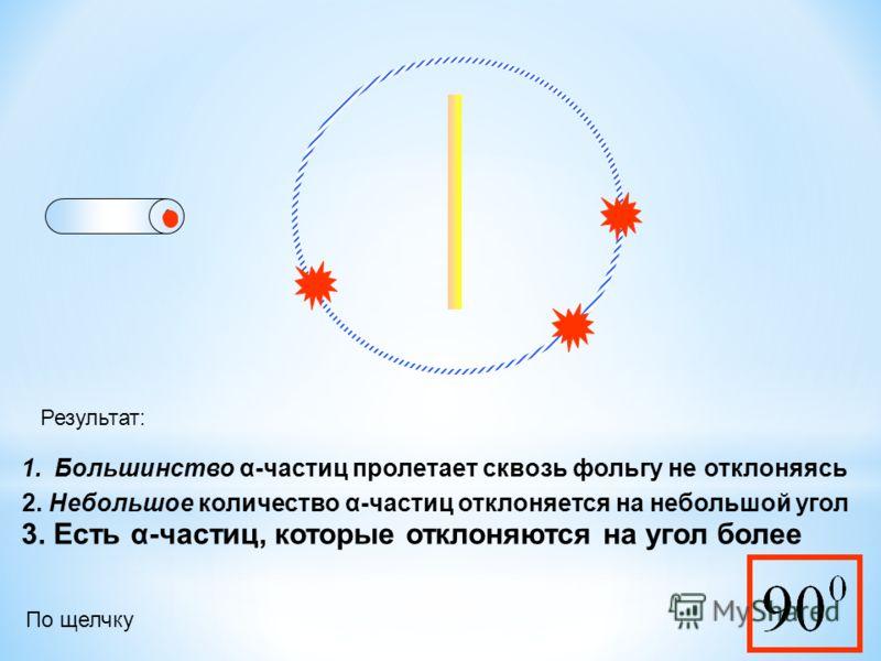 Результат: 1.Большинство α-частиц пролетает сквозь фольгу не отклоняясь 2. Небольшое количество α-частиц отклоняется на небольшой угол 3. Есть α-частиц, которые отклоняются на угол более По щелчку