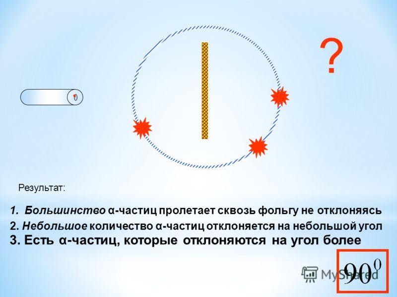 Результат: 1.Большинство α-частиц пролетает сквозь фольгу не отклоняясь 2. Небольшое количество α-частиц отклоняется на небольшой угол 3. Есть α-частиц, которые отклоняются на угол более ?