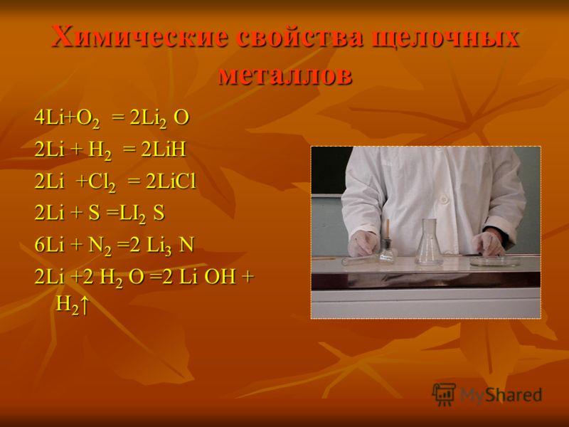 Химические свойства щелочных металлов 4Li+O 2 = 2Li 2 O 2Li + H 2 = 2LiH 2Li +Cl 2 = 2LiCl 2Li + S =LI 2 S 6Li + N 2 =2 Li 3 N 2Li +2 H 2 O =2 Li OH + H 2 2Li +2 H 2 O =2 Li OH + H 2