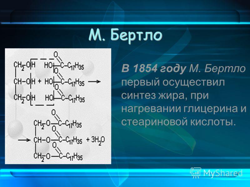М. Бертло В 1854 году М. Бертло первый осуществил синтез жира, при нагревании глицерина и стеариновой кислоты.