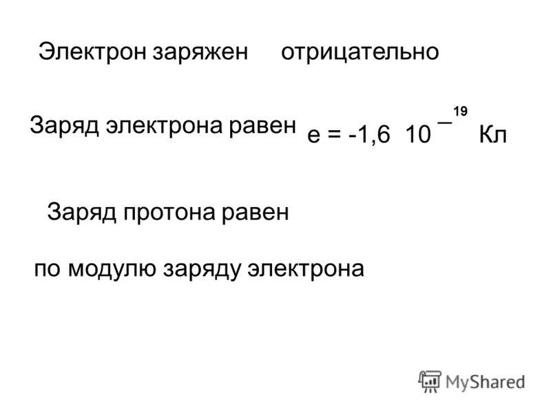 Электрон заряженотрицательно Заряд электрона равен е = -1,6 10 ¯ Кл 19 Заряд протона равен по модулю заряду электрона