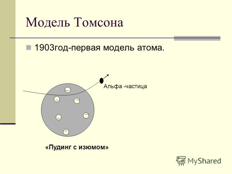 Модель Томсона 1903год-первая модель атома. Альфа -частица «Пудинг с изюмом»