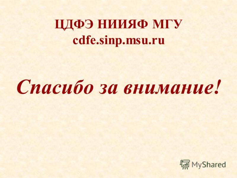 ЦДФЭ НИИЯФ МГУ cdfe.sinp.msu.ru Спасибо за внимание!