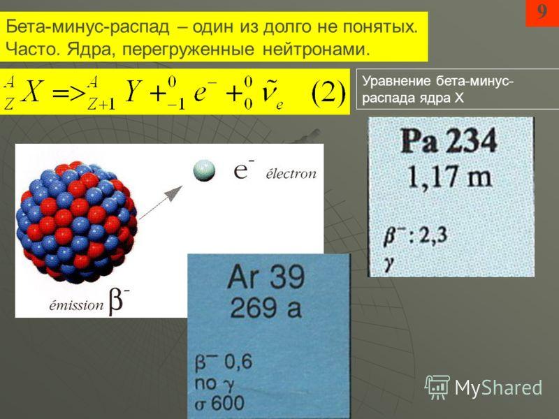 Бета-минус-распад – один из долго не понятых. Часто. Ядра, перегруженные нейтронами. 9 Уравнение бета-минус- распада ядра Х