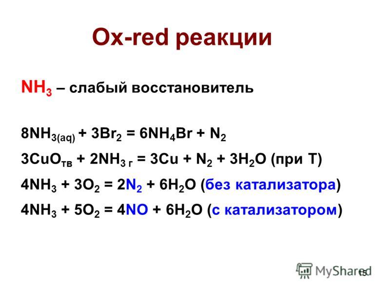 15 Ox-red реакции NH 3 – слабый восстановитель 8NH 3(aq) + 3Br 2 = 6NH 4 Br + N 2 3CuO тв + 2NH 3 г = 3Cu + N 2 + 3H 2 O (при T) 4NH 3 + 3O 2 = 2N 2 + 6H 2 O (без катализатора) 4NH 3 + 5O 2 = 4NO + 6H 2 O (с катализатором)