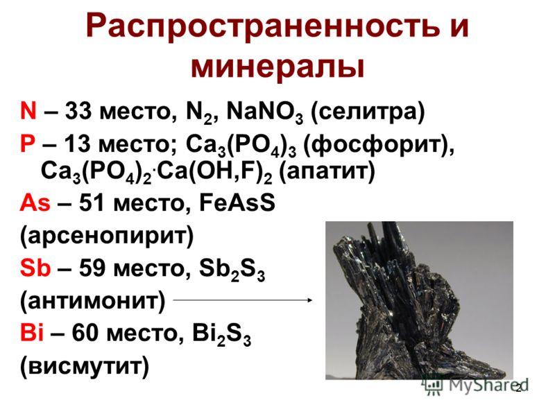 2 Распространенность и минералы N – 33 место, N 2, NaNO 3 (селитра) P – 13 место; Ca 3 (PO 4 ) 3 (фосфорит), Ca 3 (PO 4 ) 2. Ca(OH,F) 2 (апатит) As – 51 место, FeAsS (арсенопирит) Sb – 59 место, Sb 2 S 3 (антимонит) Bi – 60 место, Bi 2 S 3 (висмутит)