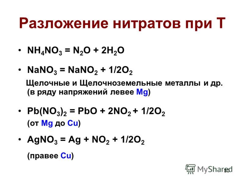 30 Разложение нитратов при T NH 4 NO 3 = N 2 O + 2H 2 O NaNO 3 = NaNO 2 + 1/2O 2 Щелочные и Щелочноземельные металлы и др. (в ряду напряжений левее Mg) Pb(NO 3 ) 2 = PbO + 2NO 2 + 1/2O 2 (от Mg до Cu) AgNO 3 = Ag + NO 2 + 1/2O 2 (правее Cu)