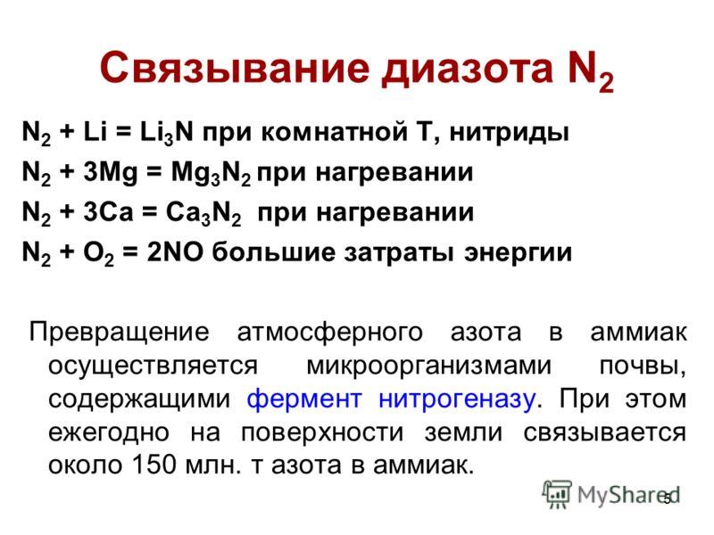 5 Связывание диазота N 2 N 2 + Li = Li 3 N при комнатной Т, нитриды N 2 + 3Mg = Mg 3 N 2 при нагревании N 2 + 3Ca = Ca 3 N 2 при нагревании N 2 + O 2 = 2NO большие затраты энергии Превращение атмосферного азота в аммиак осуществляется микроорганизмам