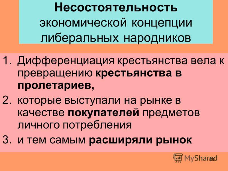 53 другие представители либерального народничества Кривенко, Михайловский, Южаков отстаивали те же позиции, утверждали, что капитализм в России искусственное явление, что здесь нет условий для его развития